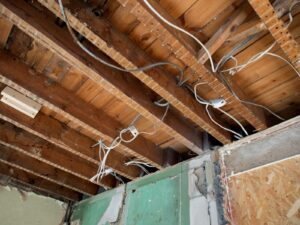 electrical wires and support beams